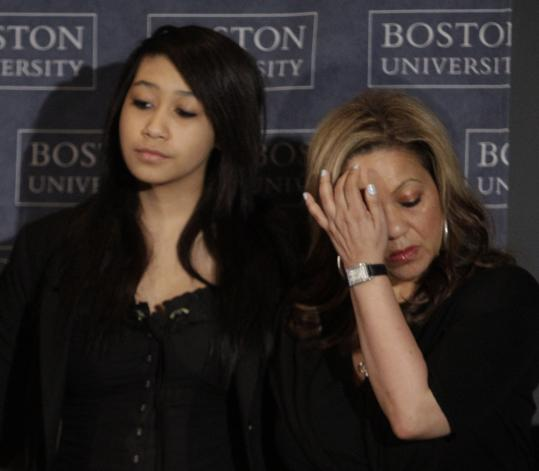 Alicia Duerson, wife of Dave Duerson, and their daughter, Taylor, attended an announcement at the Boston University Center for the Study of Traumatic Encephalopathy.