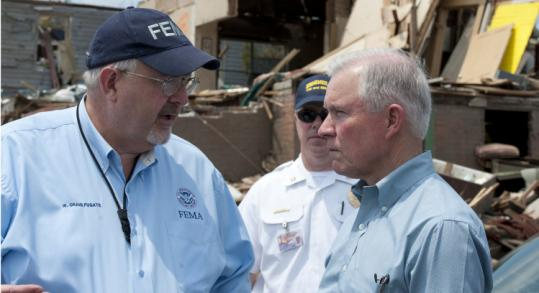 FEMA chief W. Craig Fugate (left) and Senator Jeff Sessions of Alabama spoke during a tour of damage in Pratt City Sunday.
