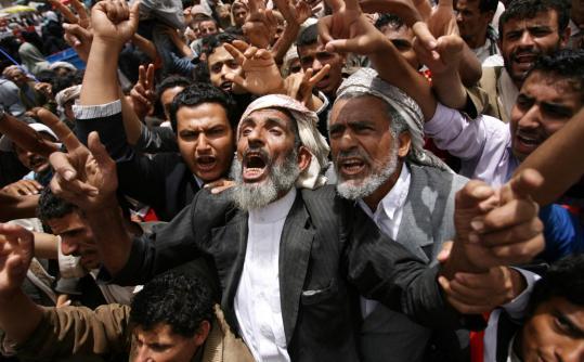 Protesters demanded the resignation of Yemeni President Ali Abdullah Saleh in Sanaa, Yemen.