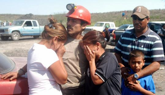 Family members waited outside a mine in San Juan de Sabinas, Mexico, where a blast killed at least 3 miners and trapped 11.