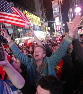 A crowd in Times Square Monday celebrated news that Osama bin Laden had been killed.
