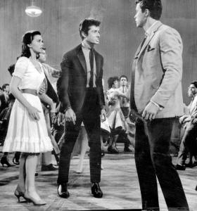 "Natalie Wood, George Chakiris, and Richard Beymer in the film version of ""West Side Story.''"