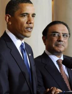 Asif Ali Zardari with President Obama at the White House in May 2009.