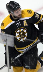 Patrice Bergeron was groggy after being hit by Philadelphia's Claude Giroux Friday.