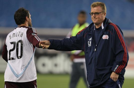 "Revolution coach Steve Nicol greets Colorado's Jamie Smith after the 0-0 draw. ""We didn't create enough [chances] with the amount of balls we had,'' Nicol said."