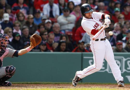 Jed Lowrie laces a two-run double to left in the seventh inning, inflating the Red Sox' lead to 9-4.