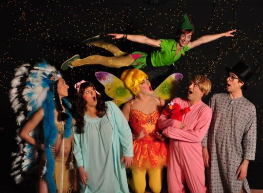 "The cast of adults-only ""Peter Pansy'' includes (from left) Samantha Brior-Jones, Liza Lott, Olive Another, Michael Wood (flying), Scott Martino, and Harry Hobbs."