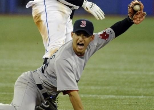 Defense is no problem for Jose Iglesias, who made a nice stab of the throw on Rajai Davis&#8217;s steal of second Tuesday night.