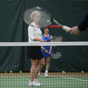 """You have to be fit to play,'' said Janet Pletcher (background, with fellow 60-something tennis player Sally Kuhn)."