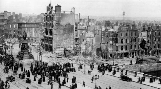 The aftermath of fighting between Irish nationalists and British troops during the 1916 Easter Rising in Dublin.