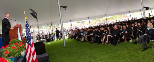 Senator Scott Brown spoke of overcoming adversity at Lasell College's commencement yesterday. He also urged graduates to consider a life in public service.