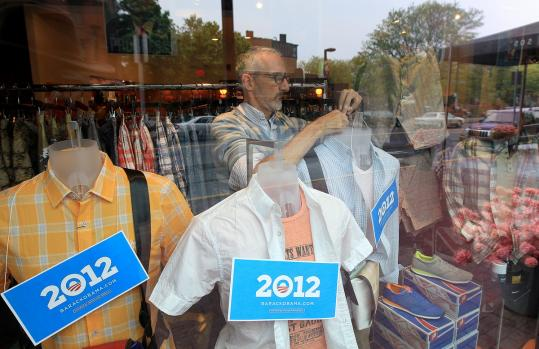 Gary Ritacco prepared his Uniform boutique display window for President Obama.