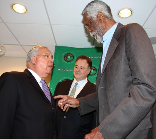 Bill Russell talks with Mayor Thomas Menino in Russell's first public appearance since the announcement he'll get a statue.