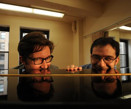 """""""What we have is hopefully a really funny show about painful and complicated experiences,'' said lyricist Sam Salmond (left, with composer Will Aronson at a rehearsal for """"Mormons, Mothers and Monsters'')."""