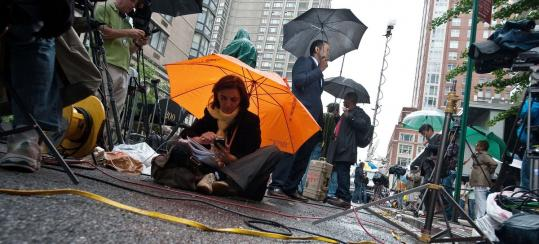 Reporters camped out yesterday at the building where former IMF chief Dominique Strauss-Kahn initially planned to stay.