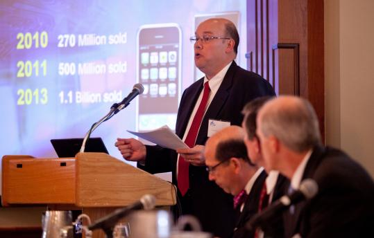 Tim Nixon, executive director of infotainment and OnStar engineering for General Motors, gave a presentation at the MIT Faculty Club.