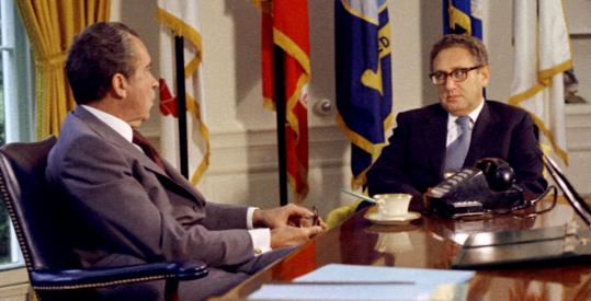 Newly appointed Secretary of State Henry Kissinger with President Nixon in the Oval Office in September 1973.