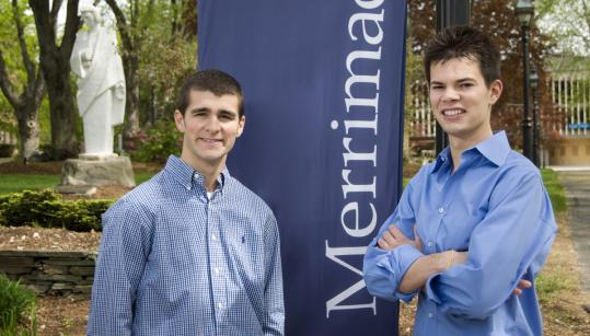 Merrimack College graduates Timmy Smith (math and physics) and Scott Pirrello (finance) took a turn at politics.