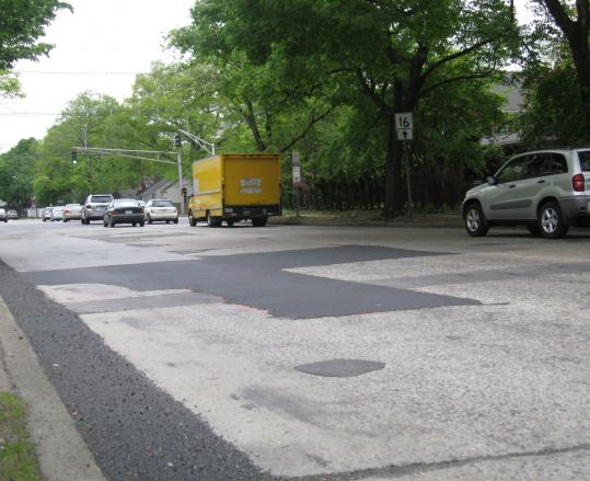Pavement patches on Washington Street (Route 16) near Commonwealth Avenue in Newton have created an uneven trip for motorists.