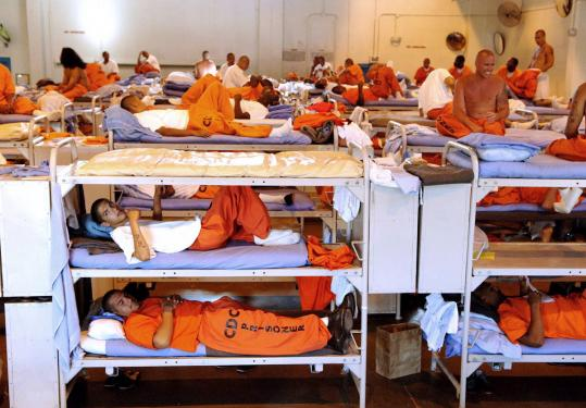 Inmates in California State Prison, Los Angeles County, in an undated image. Justices split along ideological lines.