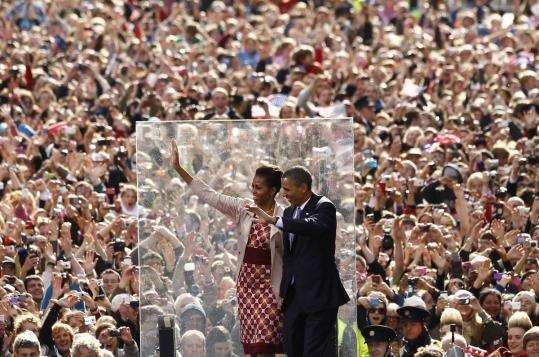 "President Obama — ""from the Moneygall Obamas'' — and Michelle Obama thrilled well-wishers at College Green in Dublin."