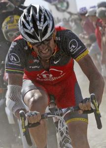 Lance Armstrong rides in the 2010 Tour de France.