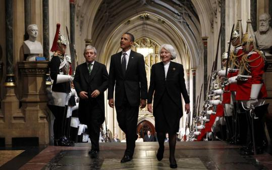 President Obama, with speaker of the House of Commons, John Bercow, and speaker of the House of Lords, Helene Hayman.