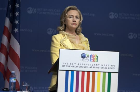 Speaking in Paris yesterday, Secretary of State Hillary Rodham Clinton stopped short of endorsing anyone to lead the IMF.