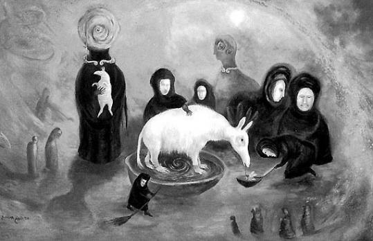 "Above, a detail of ""Aardvark Groomed by Widows,'' a 1997 work by Leonora Carrington. She was part of a famous wave of artistic and political emigres who came to Mexico in the 1930s and '40s."