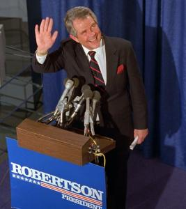Pat Robertson at a victory rally in 1988 as he led Vice President George H.W. Bush in the Iowa Caucus returns.