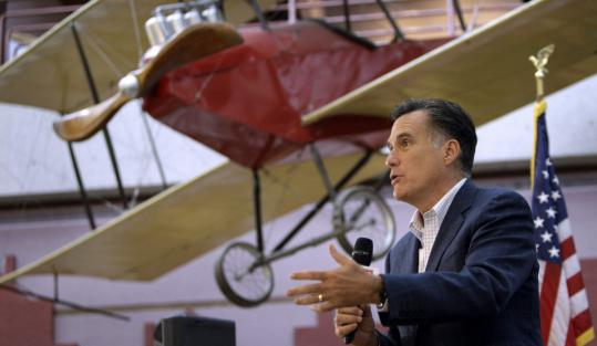 Mitt Romney's speech at the State of Iowa Historical Museum was cut short when a smoke alarm went off.