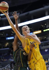 The Sparks&#8217; Margo Dydek scored against Seattle in 2008.