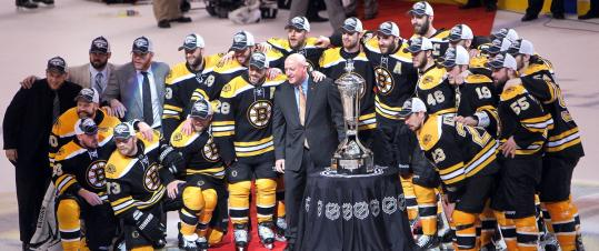 After defeating the Lightning in Game 7 at TD Garden, the Eastern Conference champion Bruins can look at — but not touch — the Prince of Wales trophy, presented by NHL deputy commissioner Bill Daly.