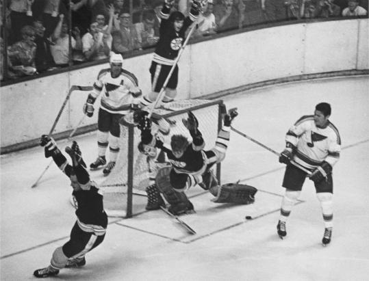 Bobby Orr celebrated in mid-air after his overtime goal against St. Louis in 1970 ended a 29-year title drought for the Bruins. They won the Stanley Cup again two years later.