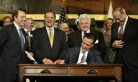Governor Romney signed the state health care overhaul bill into law to much fanfare at a Faneuil Hall ceremony in 2006.