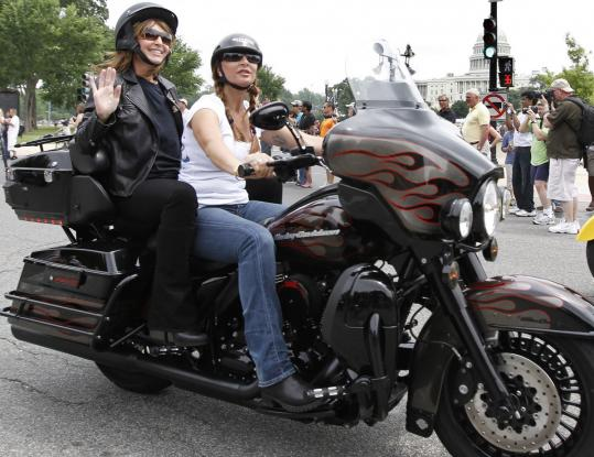 "Sarah Palin arrived at the ride on a Harley yesterday. The former Alaska governor gave no hint on whether she will run for president, telling someone, ""I don't know yet.''"