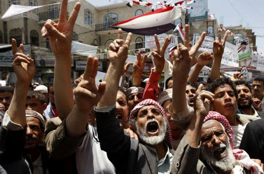 Protestors in Sana called for the ouster of Yemen's president, Ali Abdullah Saleh, yesterday as clashes grew more violent.