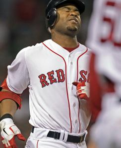 Frustration shows on Carl Crawford's face after lining out with two aboard in the sixth inning.