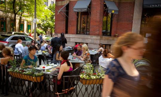 At Snappy Sushi on Newbury Street, the outdoor patio is a good-weather dining option.