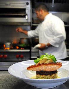 Cedar roasted salmon on a potato and cauliflower cake from chef/co-owner Robin King at Oro in Scituate.