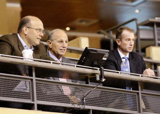 Jeremy Jacobs (center) credits his son Charlie (right) for a role in the changes of the past few years, including the arrival of general manager Peter Chiarelli (left).