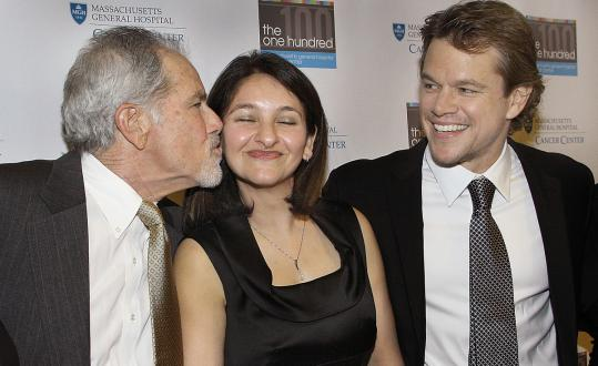 Matt Damon (right) with his father, Kent Damon, and Dr. Noopur Raje at the Westin Boston Waterfront last night.