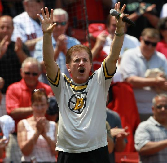 In a puckish touch, TD Garden favorite Rene Rancourt sang the anthem at Fenway.