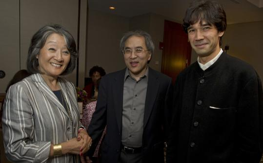 From left: Atsuko Toko Fish with violinists Lynn Chang and Andrew Kohji Taylor at the Charles Hotel last night.