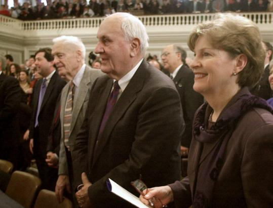 Former New Hampshire governors Walter Peterson (center), Hugh Gregg, and Jeanne Shaheen.