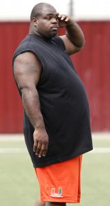 The unmistakable physique of nose tackle Vince Wilfork was on display at an informal Patriots workout at BC yesterday.