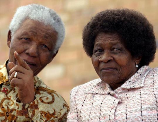 Nelson Mandela with Mrs. Sisulu at an event in Johannesburg.