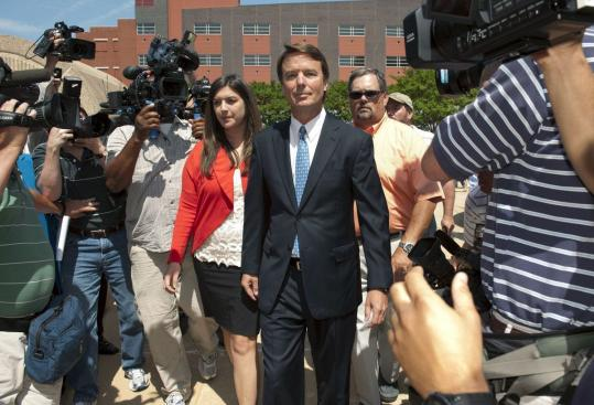 Former US Democratic presidential hopeful John Edwards and his daughter, Cate, left US District Court yesterday in Winston-Salem, N.C. The former US senator pleaded not guilty to six federal charges.