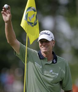 Steve Stricker's hole-in-one at No. 8, his 17th, led to a 5-under 67 and a three-shot lead after two rounds at Muirfield Village.
