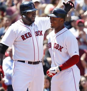 Carl Crawford is greeted by David Ortiz after Crawford's three-run homer in the second inning.